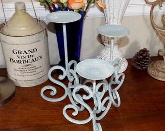 CUSTOM PAINTED Tapered Candle Holders, Shabby Chic Cottage