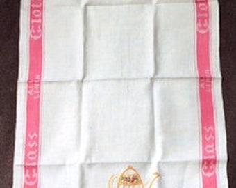 HAND EMBROIDERED LINEN Tea Towel