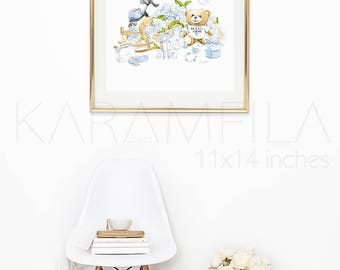 Nursery Wall Art Baby Boy Print. Baby Shower Favor Boys Nursery Print. This is not a Moschino Toy Teddy Bear Print Baby Fashion Illustration