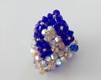 Blue and gold ring two square Swarovski Crystal beads intertwined