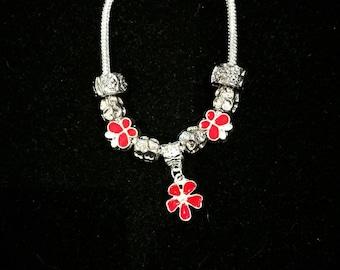 European bracelet with European beads, red flower