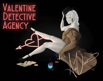 Valentine Detective Agency Pin Up Print | Matte Finish