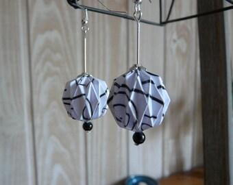 Origami earrings white scrolled paper balls black
