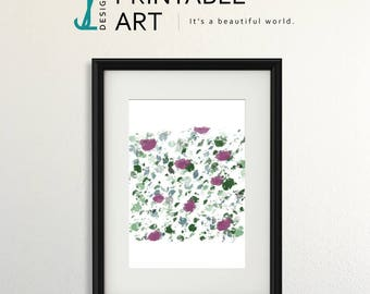 Abstract Flowers Print, downloadable print, digital print, pretty contemporary print
