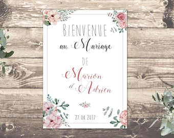 Pretty theme romantic and rustic printable wedding poster