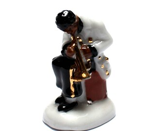 Bean musician trumpeter porcelain cake or Jazz band - musician gift idea - collection