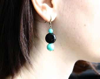 Earrings turquoise and black glass beads