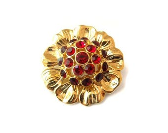 FREE DELIVERY! Vintage MONET 1990s Red Rhinestone Flower Brooch