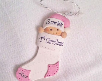 First Christmas Ornament - Babys 1st Christmas - Christmas ornament - Baby girl ornament - Personalized ornament - Handmade ornament - Baby
