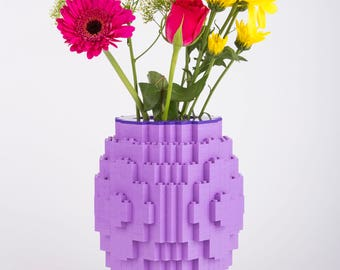 Striking Lego brick vase