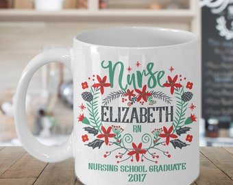 Personalized Nurse Mug Gift - Add Your Custom Name - Customizable Message - Christmas Wreath Style - 11 oz or 15 oz Ceramic Coffee Cup