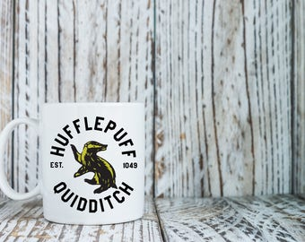 Hufflepuff Quidditch Mug Gift • Harry Potter Fan Inspired Gift •  Hufflepuff House Coffee Mug  Ravenclaw Gryffindor Ravenclaw Gift Present
