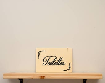 Toilettes - vinyl on varnished wood (choose from a range of colours) - Home decor