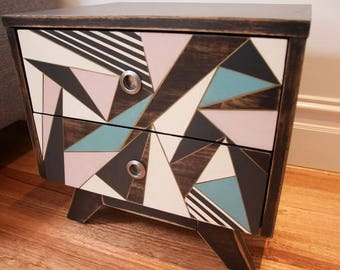 Retro geometric hand painted cabinet