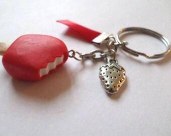 Key fob chewed Eskimo red Strawberry polymer clay
