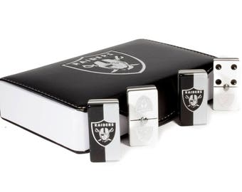 Raiders Jumbo Domino Double Six, 5 Coats 100% Acrylic. Faux Leather Case