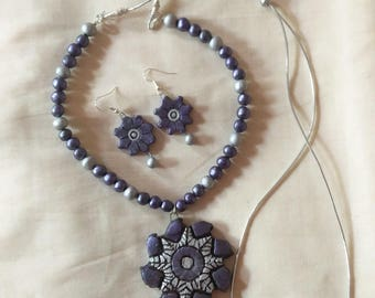 Purple and silver necklace with matching earrings,terracotta jewelry-polymer clay jewelry-Indian jewelry