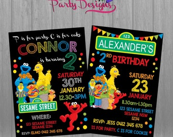 Sesame Street Invitation, Sesame Street Birthday Party, Sesame Street printable invitation
