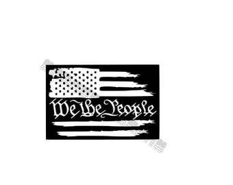 We The People American Flag Vinyl Decal