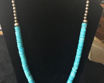 25.5 inch Turquoise and Silver Slightly Graduated Necklace