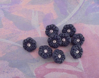 Set of 7 Blue Vintage buttons 15 mm plastic