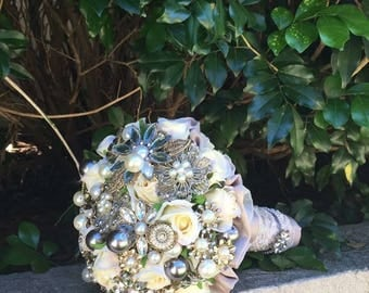 Bouquets, weddings, brooch bouquet, bridal bouquet, alternative bouquet, silk flowers, pearls, embellished, destination wedding, heirloom