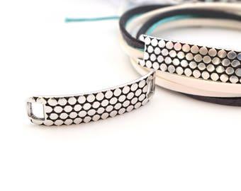 1 connector from hexagonal silver bracelet 5mm