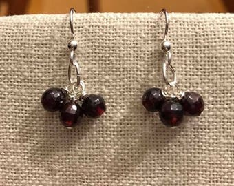 Sterling Silver / Genuine Round Faceted Garnet Dangle Earrings