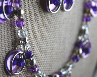Purple Shell and Rings Necklace and Earrings