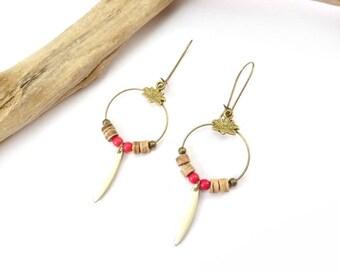 "Earrings ""Jodhpur"" red, white & wood"