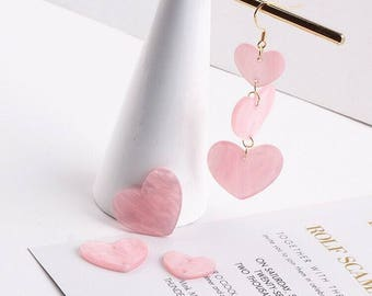 5 pcs of Pinky Heart Charm Tortoise Colored  Charm Crystal Charm Pearl Mosaic Charm Resin Charm Pendant Earring Findings Jewelry Supplies