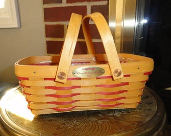 Longaberger Collectible Woven Memories Basket 2000 Signed with Liner Excellent Condition Red Weave Made in the USA