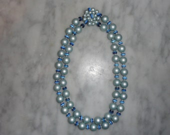 Vintage Two Strand Baby Blue Matte Faux Pearls with Cobalt Blue Moonglow Spacers and Fancy Clasp Old Hollywood SHIPS FREE