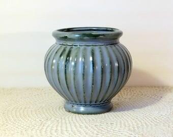 Roseville Planter Vase Vintage R.R.P. Pottery Ribbed Blue Gray Drip Over Green Glaze Bowl Gardening Flowers Vase Display 1960s Pottery