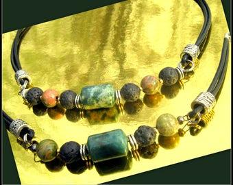 Bijoux Homme Cuir noir, pierre Jaspe Vert, Lave, Unakite, Collier bracelet homme perles argent,,surfeur, Cristaux guérison, cadeau homme