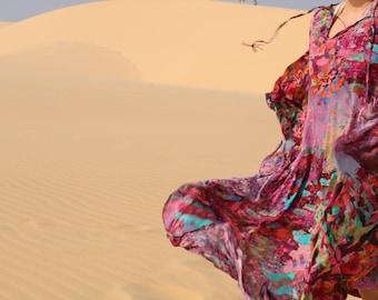 The Rosa Kaftan, digitally printed luxury silk kaftan, full length, split sides, tassel detail tie, boho style
