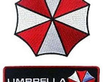 FREE SHIPPING *** 2 Patches - Umbrella & Corporation Embroidered Patches - Resident Evil ~ NEW ~