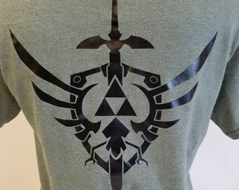 Legend of Zelda Hylian Shield With Triforce and Mastersword - Siser HTV Iron On