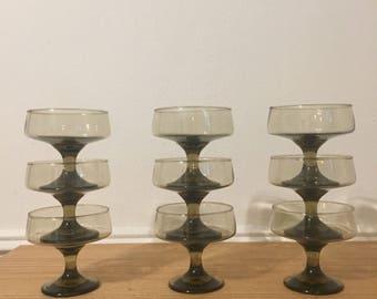 vintage smoked libby glasses set of 9