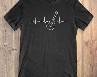 Classical Guitar T-Shirt Gift: Heartbeat Classical Guitar