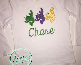 Children's Mardi Gras Crawfish Trio Applique Shirt