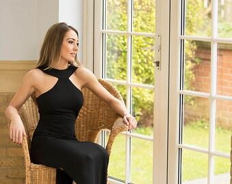 Black High Neck Versatile High Neck Evening Summer Holiday Party Occaison Maxi Full Length Dress