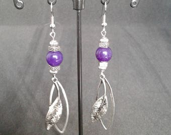 Earrings amethyst and silver
