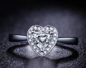 Heart Diamond Engagement Ring 14k White Gold or Yellow Gold or Rose Gold Halo Diamond Ring Proposal Ring Anniversary Ring