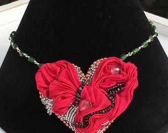 Stunning  'fairytale dreams' heart shibori ribbon heart - with garnets, chrome dropside & quartz