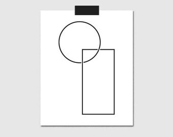 Geometric Print, Wall Art, Minimalist Poster, Circle, Rectangle, Digital Prints