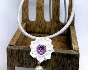 Handmade crochet flower pendant