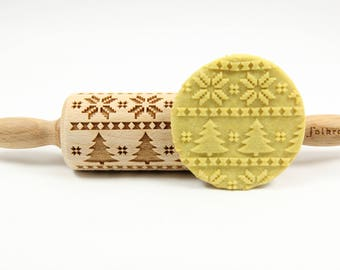 SCANDINAVIAN CHRISTMASS junior engraved rolling pin for cookies, embossing rolling pin, laser rolling pin