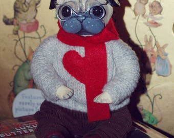 Pug Doll / Mini Art Doll / Paperclay Doll / Handmade Collectible Doll