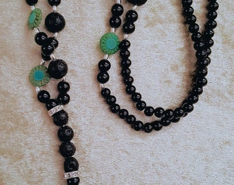 XL chain in black/turquoise with beautiful Buddha